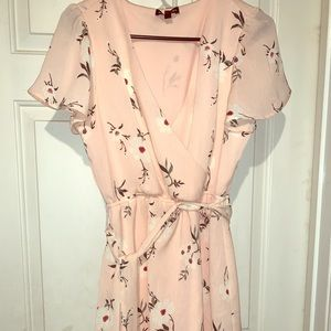 As U Wish/Pink with flowers/Dress/Knee L/SMALL